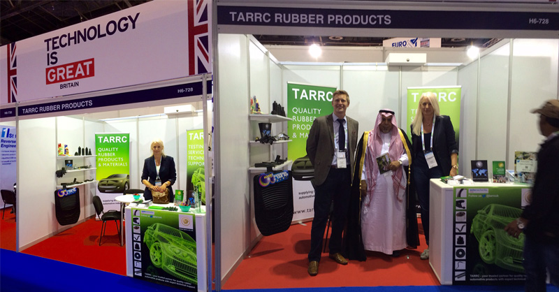 TARRC's Gail Reader and David Cawthra on the stand at Automechanika Dubai 2015 on the UK Pavilion