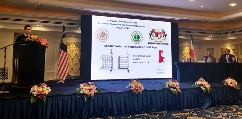 Tehran Muhammad Umar Zulkefli presenting seismic protection systems based on rubber